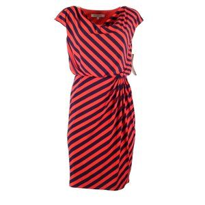 Evan Picone Womens Dress Size 4 Striped Red Blue
